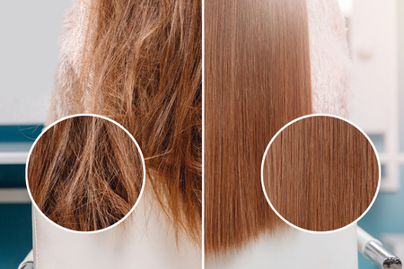 Sick, cut and healthy hair care straightening. Before and after treatment. 版權商用圖片 - 115157738