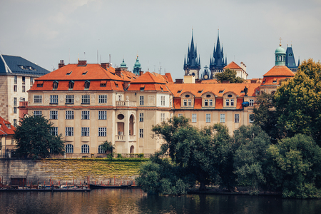 View of colorful Prague europe castle with river Vltava and old town, Czech Republic. Concept travel.