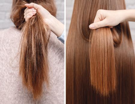 Alisado para el cuidado del cabello enfermo, cortado y saludable. Antes y después del tratamiento.