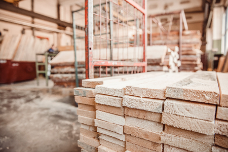 Woodworking, lumber production workshop, sawmill equipment storage wooden.