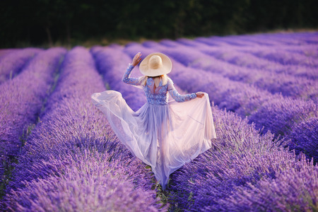 Slender girl rear view air chiffon light dress and hat standing with his back to lavender field of flowers in Provence France