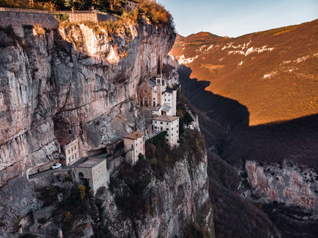 Aerial photo drone View of Madonna della Corona Sanctuary, Italy Reklamní fotografie