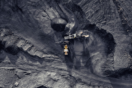 Open pit mine, extractive industry for coal, top view aerial drone. Stock fotó