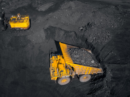 Open pit mine, extractive industry for coal, top view aerial drone. Reklamní fotografie