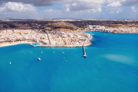 Malta aerial top view on Cargo freeport city Birzebbuga.