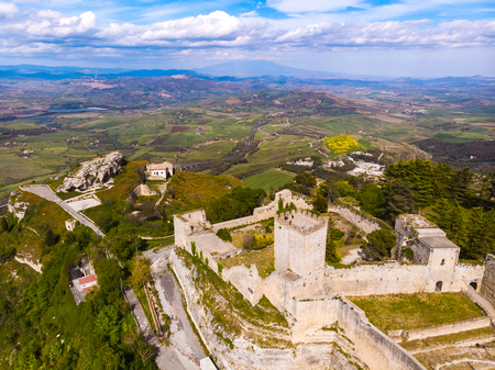 Lombardy Castle in Enna Sicily, Italy. Aerial photo.