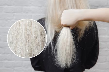 灰色の背景に損傷を受けた女性の髪のクローズアップのテクスチャ。概念損失色とタンパク質 写真素材