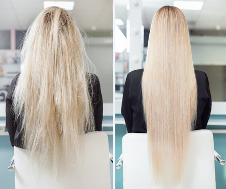 Before and after straightenin treatment. Sick, cut and healthy hair care keratin Imagens