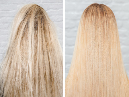 Prima e dopo il trattamento stirante. Cheratina per la cura dei capelli malati, tagliati e sani