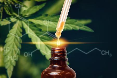 Cannabis CBD oil extracts in jars. Concept medical marijuana