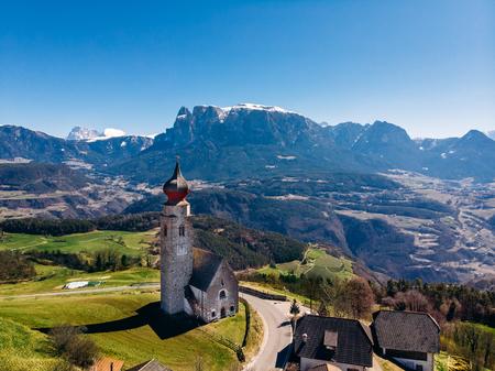 Church in Renon Ritten bolzano Alps Italy. Aerial view