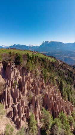 Natural earth pyramids in Renon Ritten Italy. Aerial view