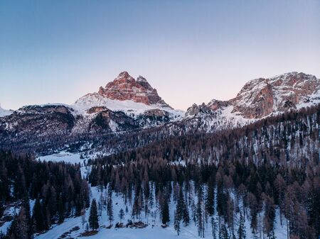 Misurina lake sunset Three Peaks of Lavaredo, Italy. Aerial top view