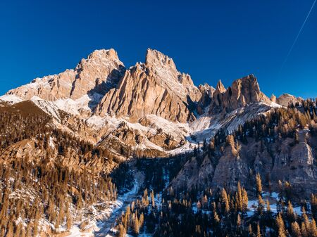 Sunrise in Dolomites mountains South Tyrol, Italy. Aerial top view Reklamní fotografie