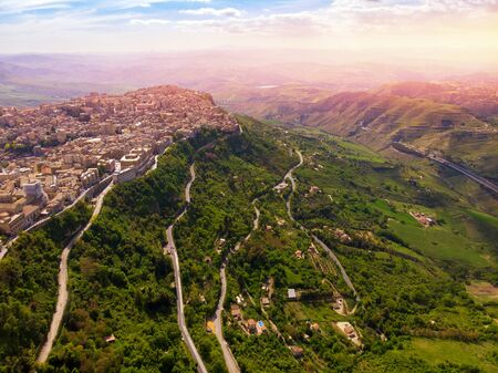 Lombardy Castle in Enna Sicily, Italy. Aerial photo. Stock Photo