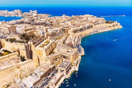 Valletta capital city of Malta. Panorama port and blue sea. Aerial top view Zdjęcie Seryjne
