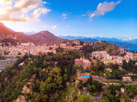 Taormina, Sicily Italy sunset landscape. Aerial top view, drone photo. Reklamní fotografie