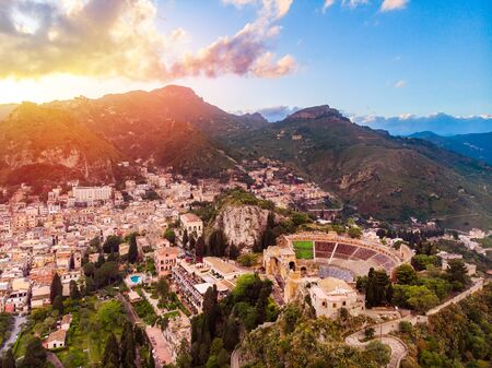 landscape europe city Taormina sunset. Aerial top view Sicily Italy