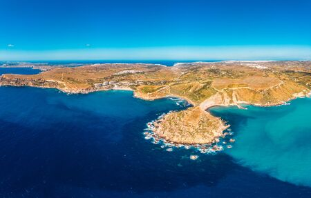 Golden Bay azure beach blue water sea, Malta. Concept travel. Aerial photo