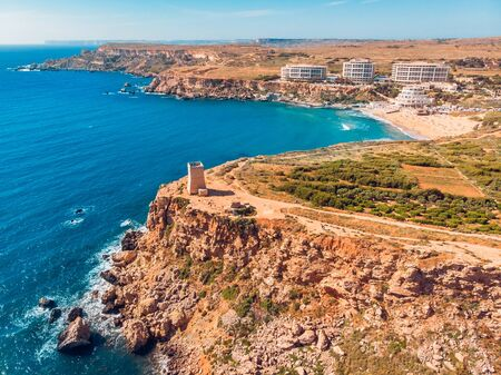 Ghajn Tuffieha Golden bay on Malta island, aerial top view