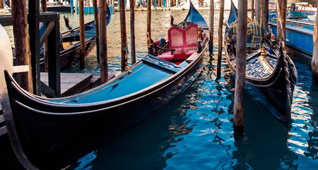 Canal with gondolas in Venice, Italy. Sunny day. romantic travel. Reklamní fotografie