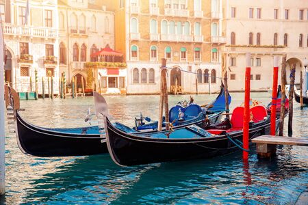Row gondolas boats on Grand Canal Venice. Concept banner site.