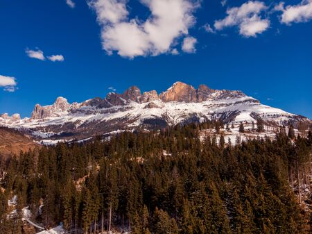 Autumn Dolomites panorama photo, sunny day Italy. Aerial view Reklamní fotografie