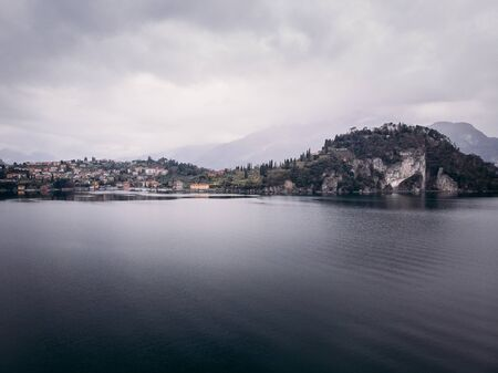 Cloudy Lake Como, Italy. Aerial top view