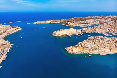 Valletta capital city of Malta. Panorama senglea, Birgu, Kalkara. Aerial top view.