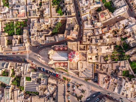 Zabbar church parish dome Malta, aerial top view