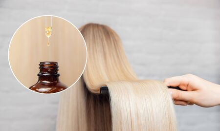 Master hairdresser procedure oil hair treatment for woman. Concept spa salon.