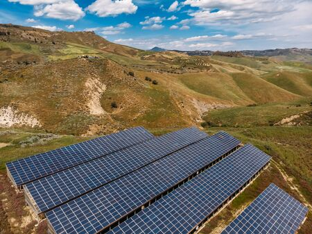 Alternative energy, solar panels for farmers, Sicily, Italy. Aerial top view