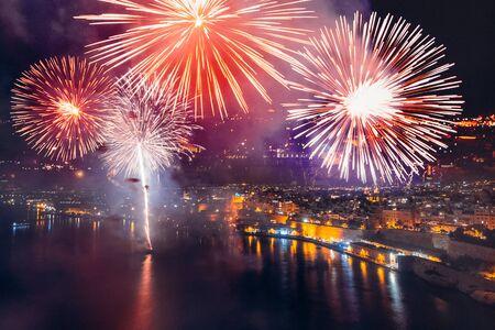 Festival of fireworks in Valletta, Malta. Travel concept Stok Fotoğraf