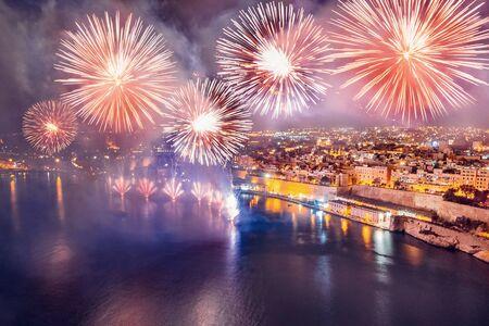 Festival of fireworks in Valletta, Malta. Travel concept Фото со стока