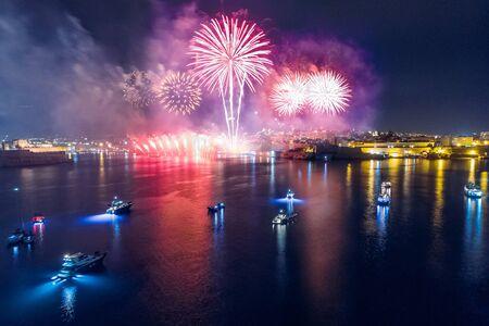 Festival of fireworks in Valletta, Malta. Travel concept
