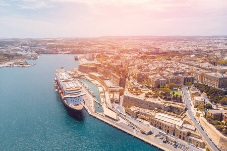 Cruise ship liner port of Valletta, Malta. Aerial view photo