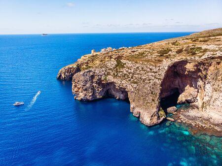 Blue Grotto in Malta. Aerial top view from Mediterranean sea island of birds