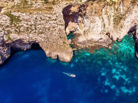 Blue Grotto in Malta. Aerial top view from Mediterranean Sea Фото со стока