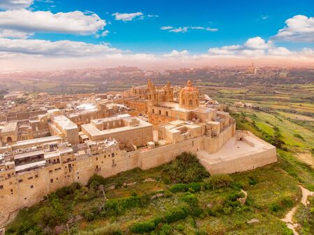 Old castle Mdina cathedral city, Malta. Aerial top view Stock Photo