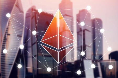Ethereum. Icon Ethereum crypto currency background of business building Stock Photo