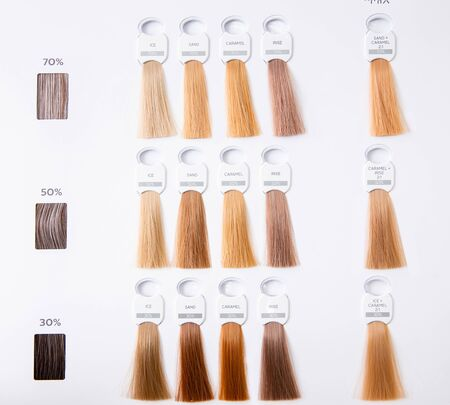 Hair palette dyed different colors. Hairstyle wig tints set for beauty industry. Isolated background.