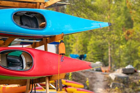 Color kayaks for rafting on tropical mountain river