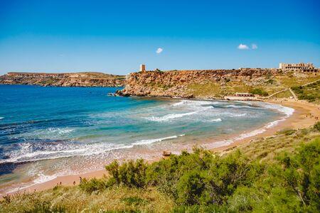 Golden Bay Malta summer tourist resort beach azure water sea, . Concept travel Stok Fotoğraf