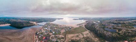 Panorama of village Teriberka Murmansk Russia. Aerial top view Stock Photo