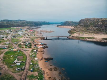 Panorama of village Teriberka Murmansk Russia. Aerial top view