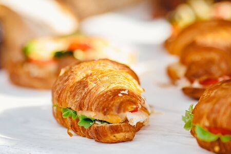 Sandwich croissants with green salad and jamon meat, european breakfast. Catering concept. Banque d'images - 132099071
