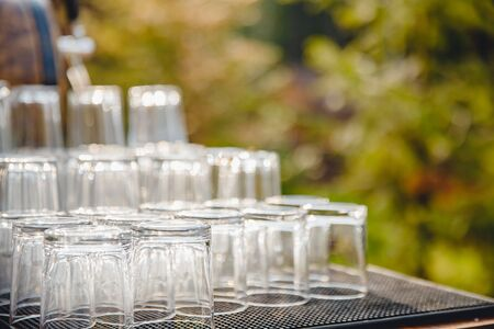 Catering service. Table setting, glass goblets, cutlery