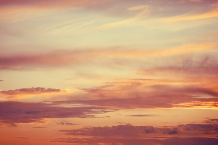 Beautiful sunset background blue sky with clouds, natural texture, sunny day 스톡 콘텐츠