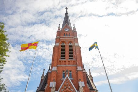 Lulea, Sweden Panorama city, Cathedral sunny day, blue sky. Banco de Imagens - 132123774