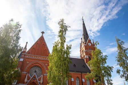 Lulea, Sweden Panorama city, Cathedral sunny day, blue sky.